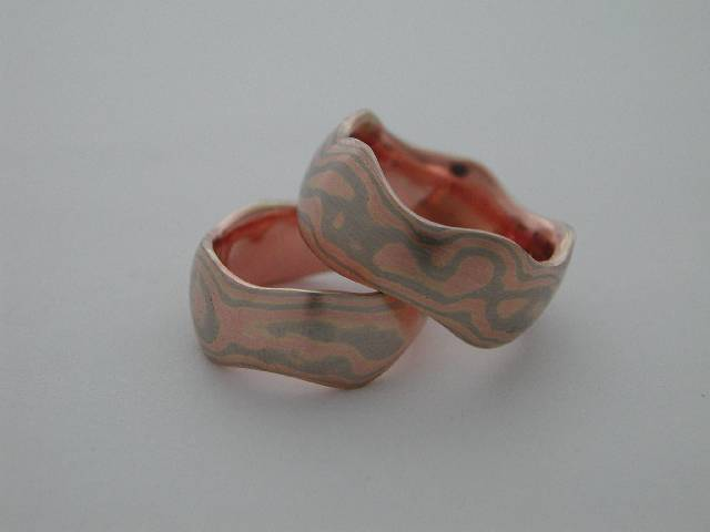 wavy mokume wedding rings